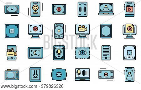 Screen Recording Icons Set. Outline Set Of Screen Recording Vector Icons Thin Line Color Flat On Whi