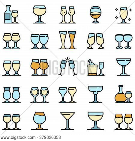 Wineglass Icons Set. Outline Set Of Wineglass Vector Icons Thin Line Color Flat On White