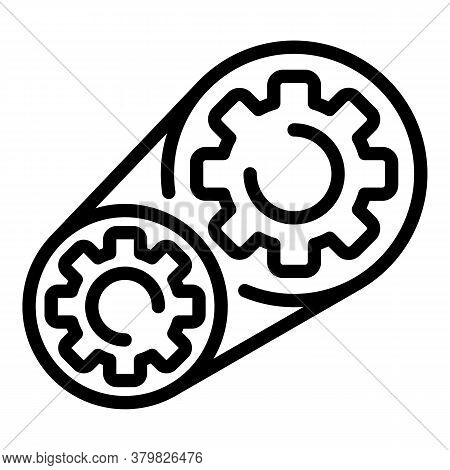 Motor Gear Wheels Icon. Outline Motor Gear Wheels Vector Icon For Web Design Isolated On White Backg