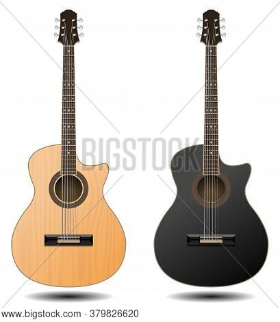 Guitar Set Isolated On White Background. Classic Guitar For Your Business Project. Black And Brown W