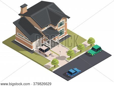 Family House Isometry. Hyper Detailing Isometric View Of The House And Cars. 3d Object For Video Gam