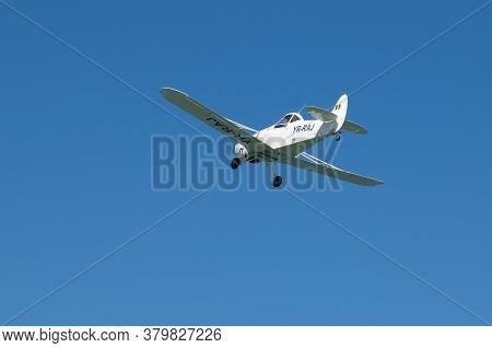 Small Plane In Flight. Pleasure Flights Over The Sea. Romania, Costinesti. July, 25, 2020