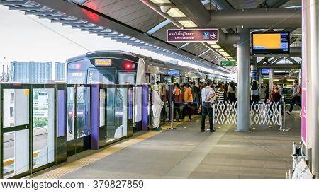 Bangkok, Thailand - July 02 2020: Peoples At Bangkok Skytrain (bts) Or The Metropolitan Rapid Transi