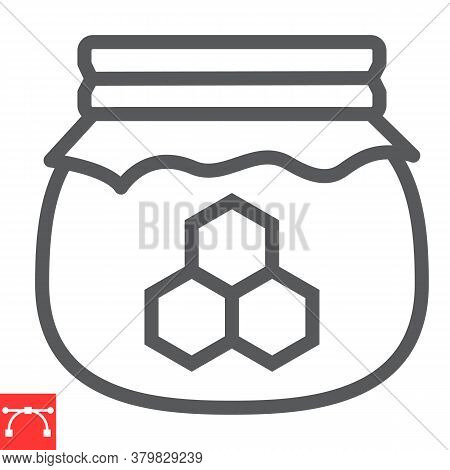 Honey Jar Line Icon, Rosh Hashanah And Hive, Honey Sign Vector Graphics, Editable Stroke Linear Icon