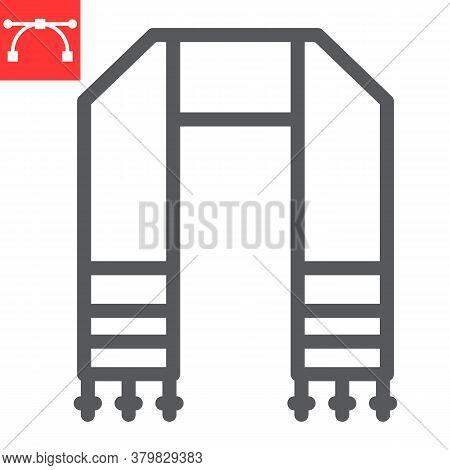 Hebrew Tallit Line Icon, Rosh Hashanah And Hanukkah, Jewish Tallit Sign Vector Graphics, Editable St