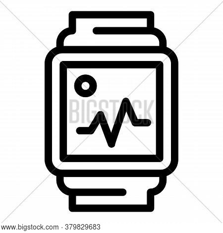 Fitness Watch Icon. Outline Fitness Watch Vector Icon For Web Design Isolated On White Background