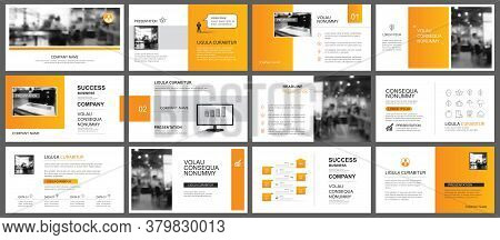 Presentation And Slide Layout Autumn Theme Template. Design Orange Gradient Background. Use For Busi