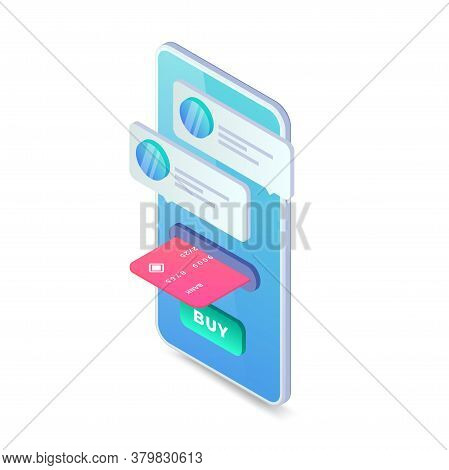 Shopping Online Isometric Concept. 3d Buy Online Concept With Smartphone. Mobile Contactless Interne