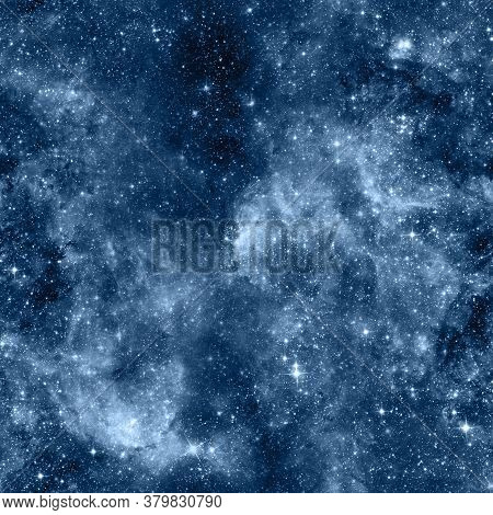 Outer Space Seamless Pattern. Blue Abstract Background. Outer Space Repeated Tile For Wrapping Paper