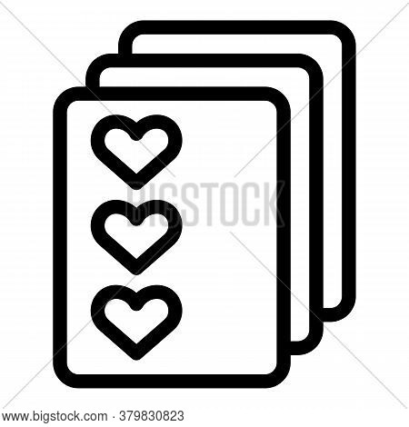 Playing Cards Icon. Outline Playing Cards Vector Icon For Web Design Isolated On White Background