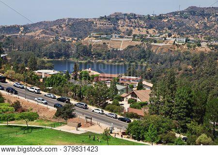Los Angeles / United States - 15 Jul 2017: Lake On Hollywood, Los Angeles, California, Usa