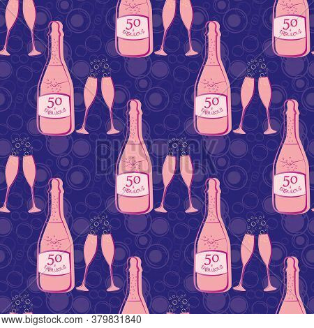 Fifty And Fabulous Seamless Vector Pattern Background. Girly Pink And Purple Bubble Textured Backdro
