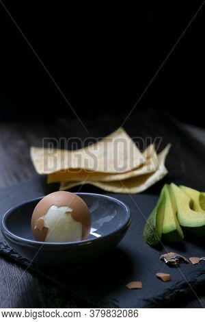 Healthy Breakfast With Avocado And Boiled Chicken Egg With Crispy Toast.