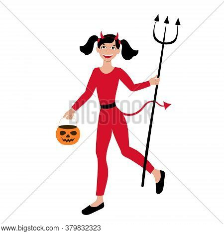 Girl Dressed As Devil And Carrying A Pumpkin Candy Bag For Halloween Carnival Party. Costume Of A Li