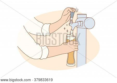 Drink, Nightlife, Alcohol, Work, Job Concept. Human Man Bartender Character Hands Holding Glass Pour
