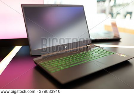 Belgrade, Serbia - May 28, 2020: New Hp Pavilion Laptop, With Green Keyboard Is Displayed On Retail