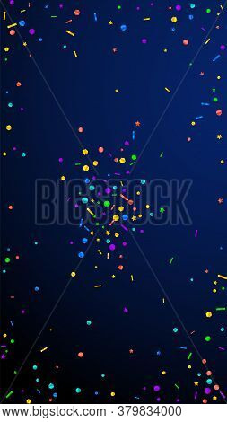 Festive Imaginative Confetti. Celebration Stars. Festive Confetti On Dark Blue Background. Flawless