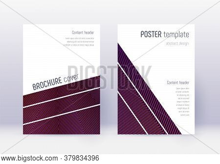 Geometric Cover Design Template Set. Violet Abstract Lines On Dark Background. Captivating Cover Des