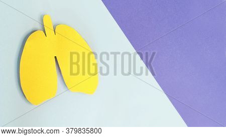 Lung Health Therapy Medical Concept. Silhouette Of Yellow Paper Lungs On Blue Background. Concept Of