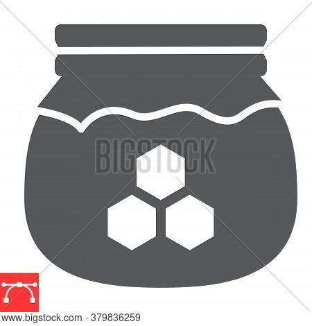 Honey Jar Glyph Icon, Rosh Hashanah And Hive, Honey Sign Vector Graphics, Editable Stroke Solid Icon