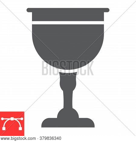 Jewish Goblet Glyph Icon, Rosh Hashanah And Jewish Cup, Chalice Sign Vector Graphics, Editable Strok