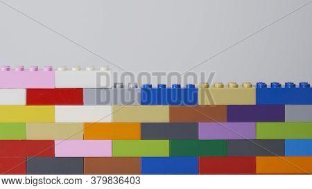 Plastic Building Block. Plastic Brick Wall. Wall From Plastic Building Blocks Isolated. Suitable For