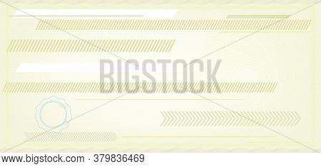 Blank Check Specimen In Soft Tones With Copy Space.