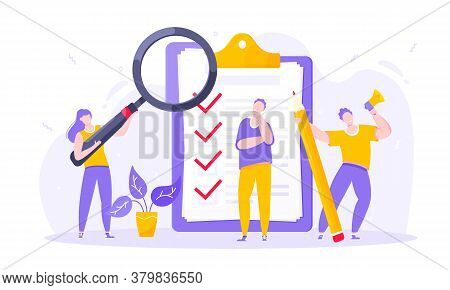 Task Done Business Concept Tiny People With Megaphone, Magnifying Glass And Pencil Nearby Giant Clip