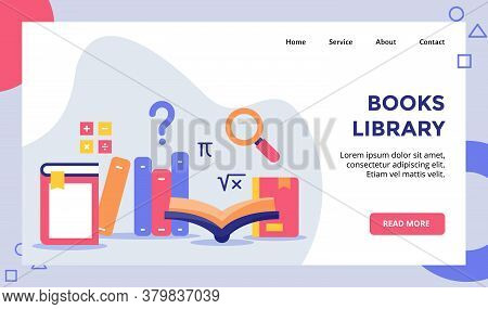 Books Library Concept Campaign For Web Website Home Homepage Landing Page Template Banner With Flat