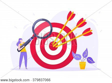 Goal Achievement Business Concept Sport Target Icon And Arrows In The Bullseye. Tiny Person With Mag