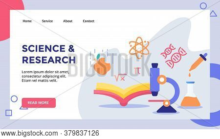 Science Research Concept Campaign For Web Website Home Homepage Landing Page Template Banner With Fl
