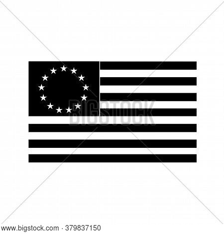 Black And White Illustration Of A The Betsy Ross Flag, An Early Design Of United States Flag With 13