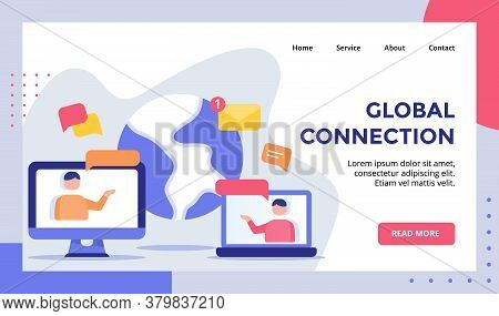 Global Connection Concept Campaign For Web Website Home Homepage Landing Page Template Banner With F