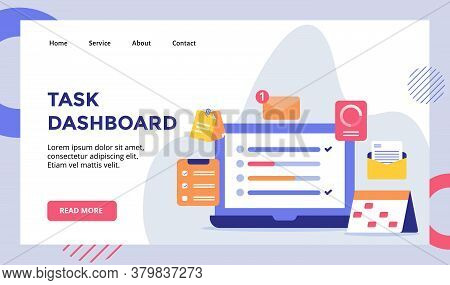 Ask Dashboard Laptop Background Of Calendar Clipboard Checklist Email Campaign For Web Website Home