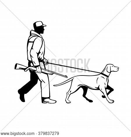 Retro Style Illustration Of A Bird Hunter Or Duck Shooter With Shotgun Rifle And Hungarian Or Magyar