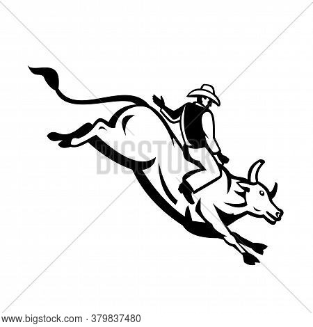 Retro Style Illustration Of An American Bull Rider Riding A Bucking Bull Trying To Stay Mounted Whil