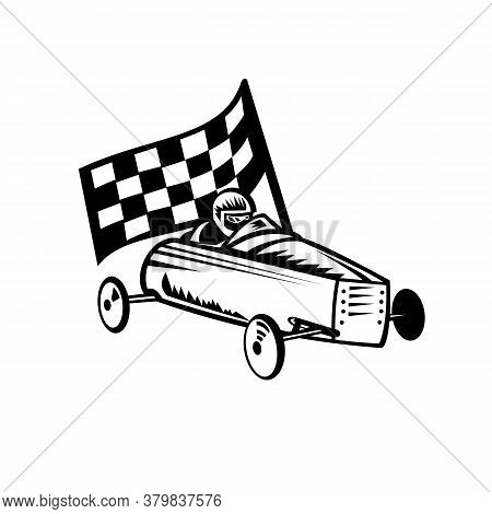Retro Black And White Style Illustration Of A Vintage Soap Box Derby Or Soapbox Car Racer With Racin