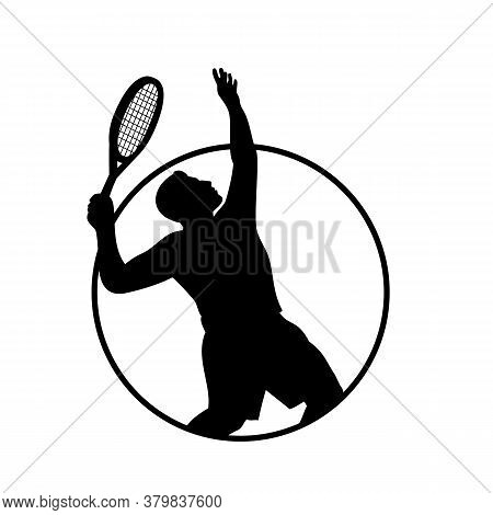 Retro Style Black And White Illustration Of A Silhouette Of A Male Tennis Player With Racquet Or Rac