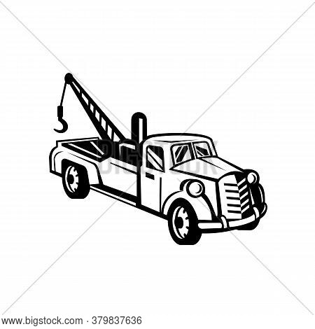 Black And White Illustration Of A Vintage Tow Truck Or Wrecker Pick-up Truck Lorry Viewed From High