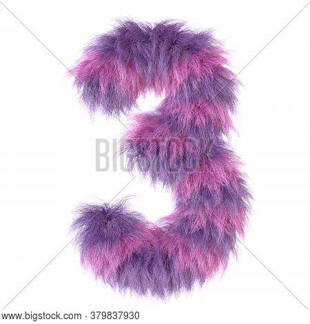 3d Decorative Cartoon Purple Fun Animal Fur Number 3