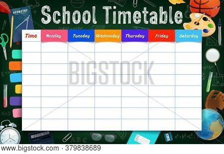 School Timetable With Stationery, Tools And Bookmarked Planner Vector Template. Student Education We