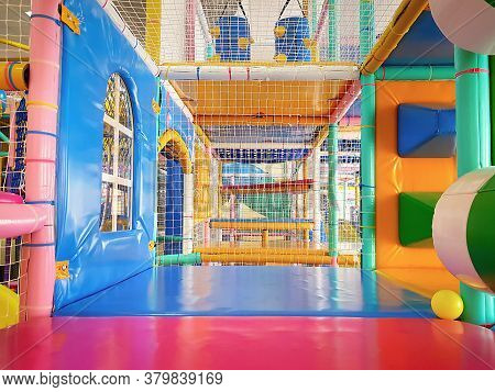Close-up Of Colorful Playground With Play Equipment For Children At The Playroom ,with Plenty Of Lab