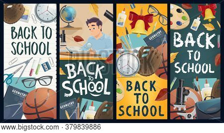 Back To School Vector Banners, Education Industry. Pupil With Magnifier Reading A Book At Desk. Scho