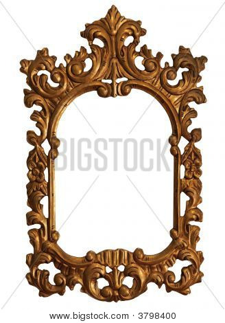 Old Gold Wood Mirror Frame With Ornaments 1