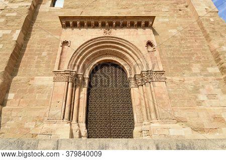 Detail Of The Door Of La Anunciata In The Cathedral Of Lleida In The La Seu Vella, Catalonia, Spain