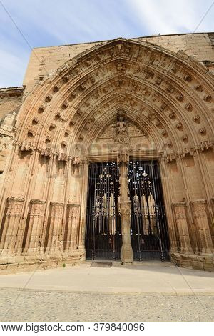 Detail Of The Door Of The Apostles In The Cathedral Of Lleida, (la Seu Vella), Catalonia, Spain