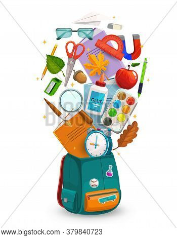 Student Bag With Back To School Supplies, Vector Education. Open Student Backpack Or Back Pack With