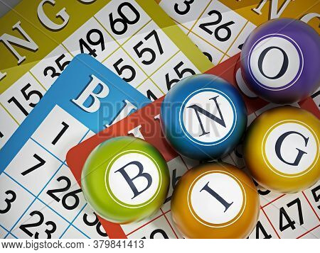 Bingo Game Cards And Balls Forming Bingo Word. 3d Illustration.