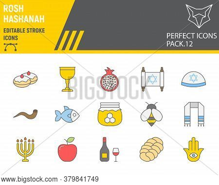 Rosh Hashanah Color Line Icon Set, Hanukkah Collection, Vector Sketches, Logo Illustrations, Shana T