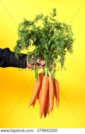 A Bunch Of Carrots On Yellow Background